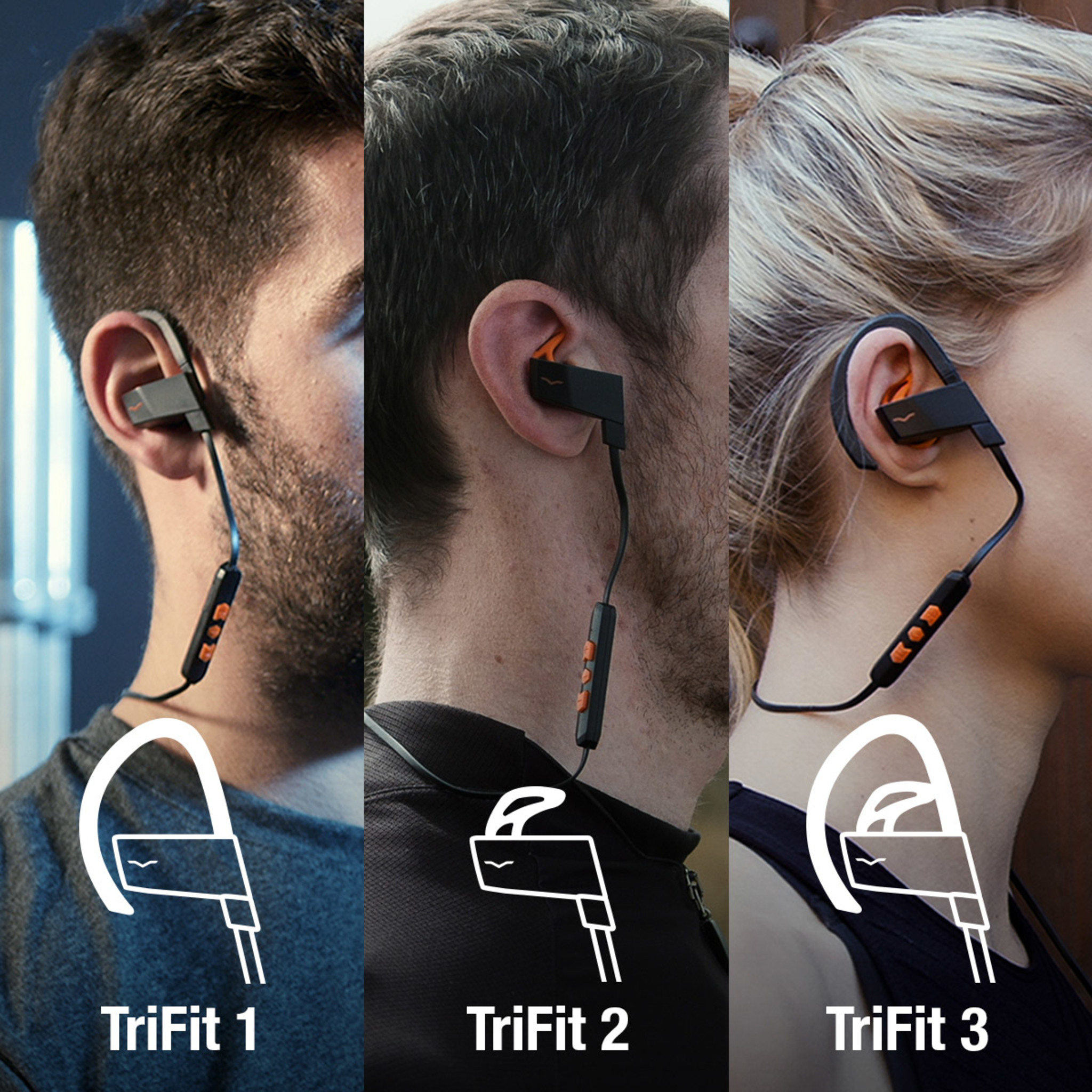 3 athletes wearing BassFit Wireless Sport In-Ear Headphones with the different TriFit designs