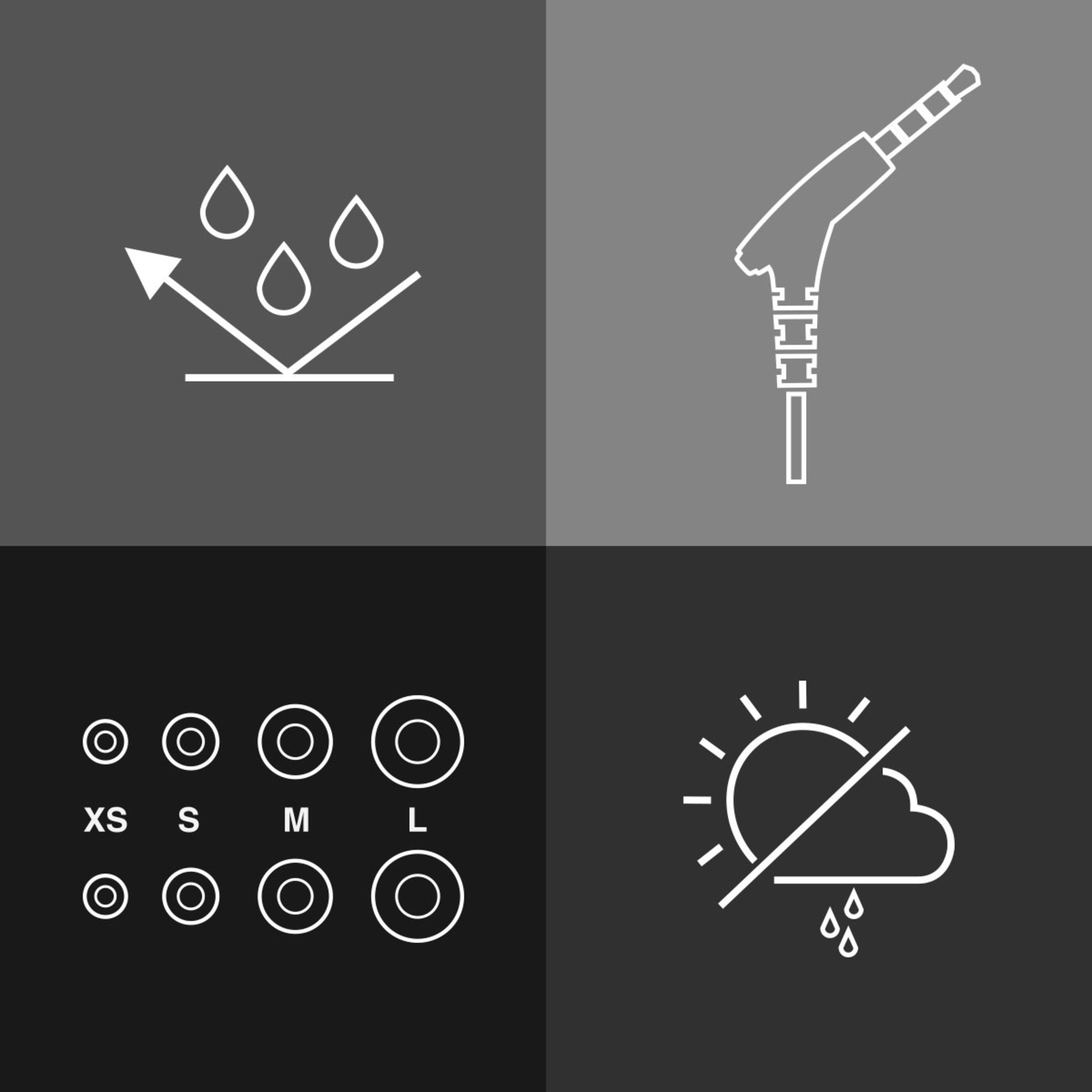 Icons showing weather resistance, 3mm headphone jack and Small, Medium and Large earbuds included