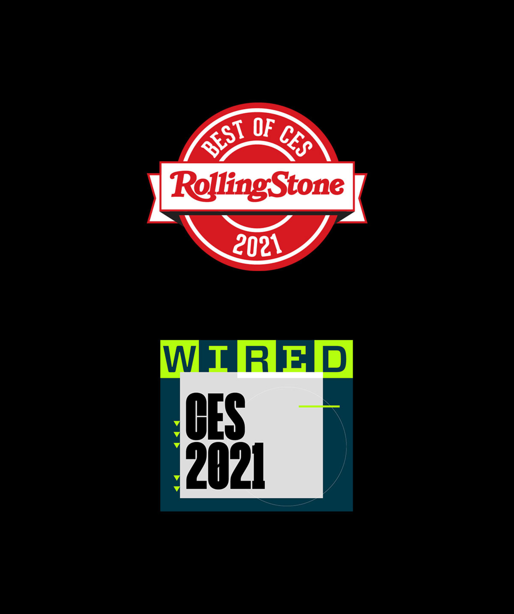 Wired and Rolling Stone awards badges