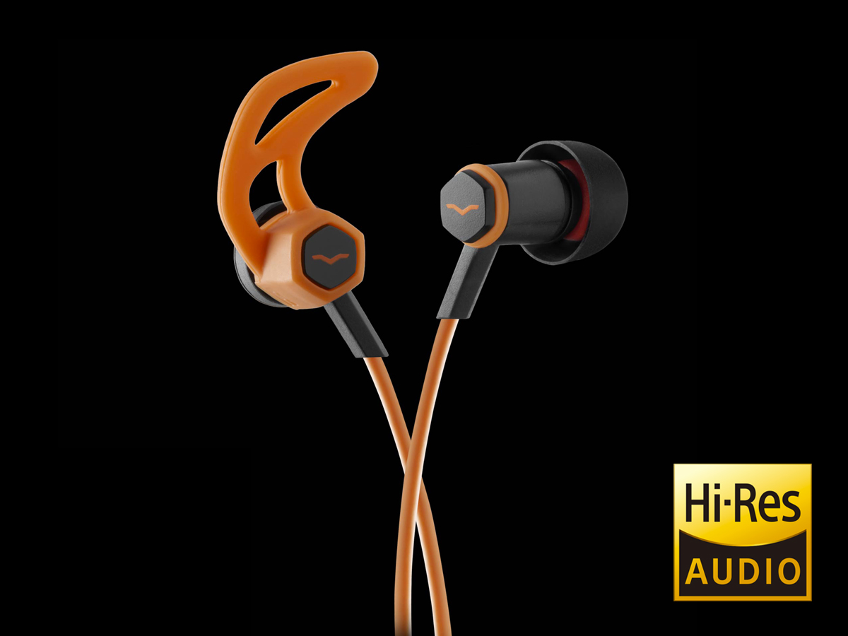 Orange Forza In-Ear Headphones with sport fins and Hi-Res Audio certification