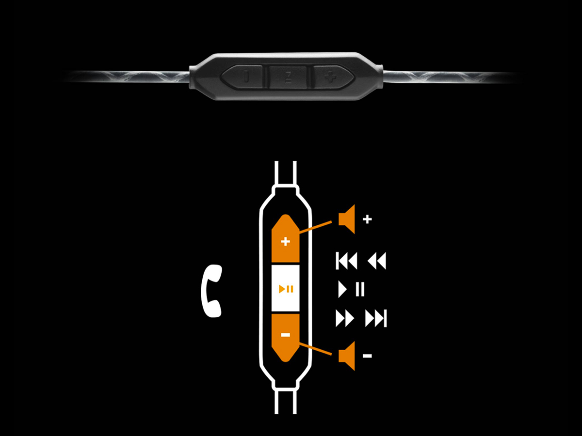 Intuitive Controls of Black Forza Metallo In-Ear Headphones