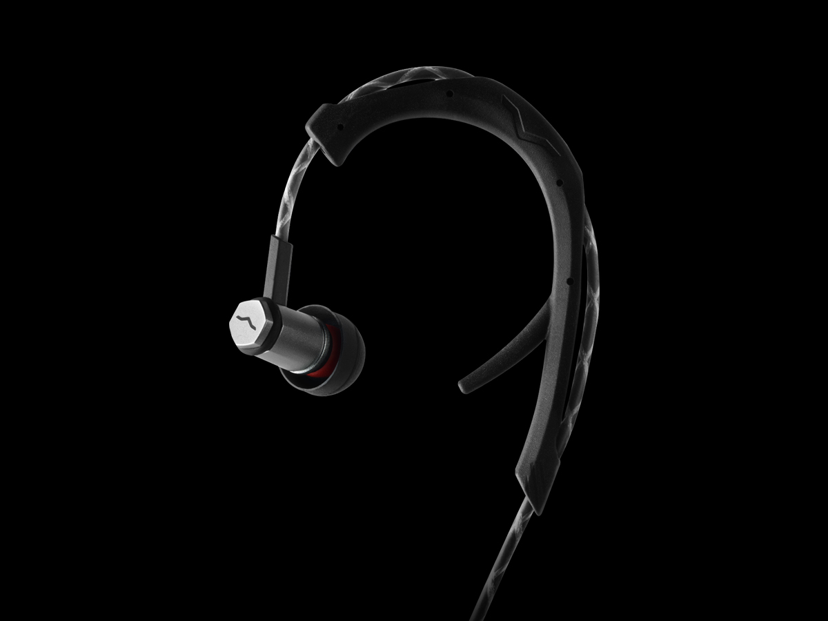 Black Forza Metallo In-Ear Headphones with Ear Hook for Fit