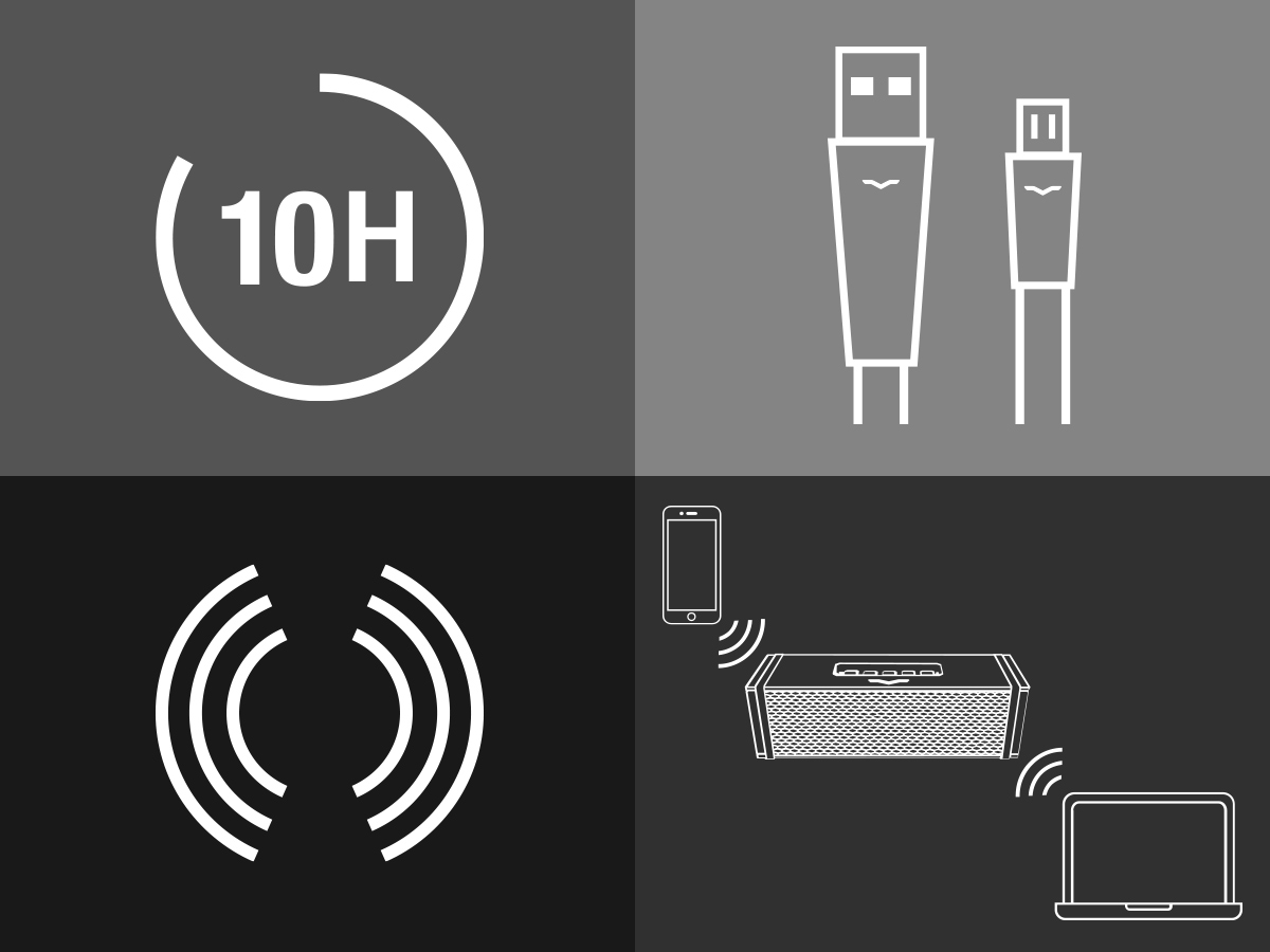Icons showing 10 hour battery life, multi-pairing and Bluetooth range