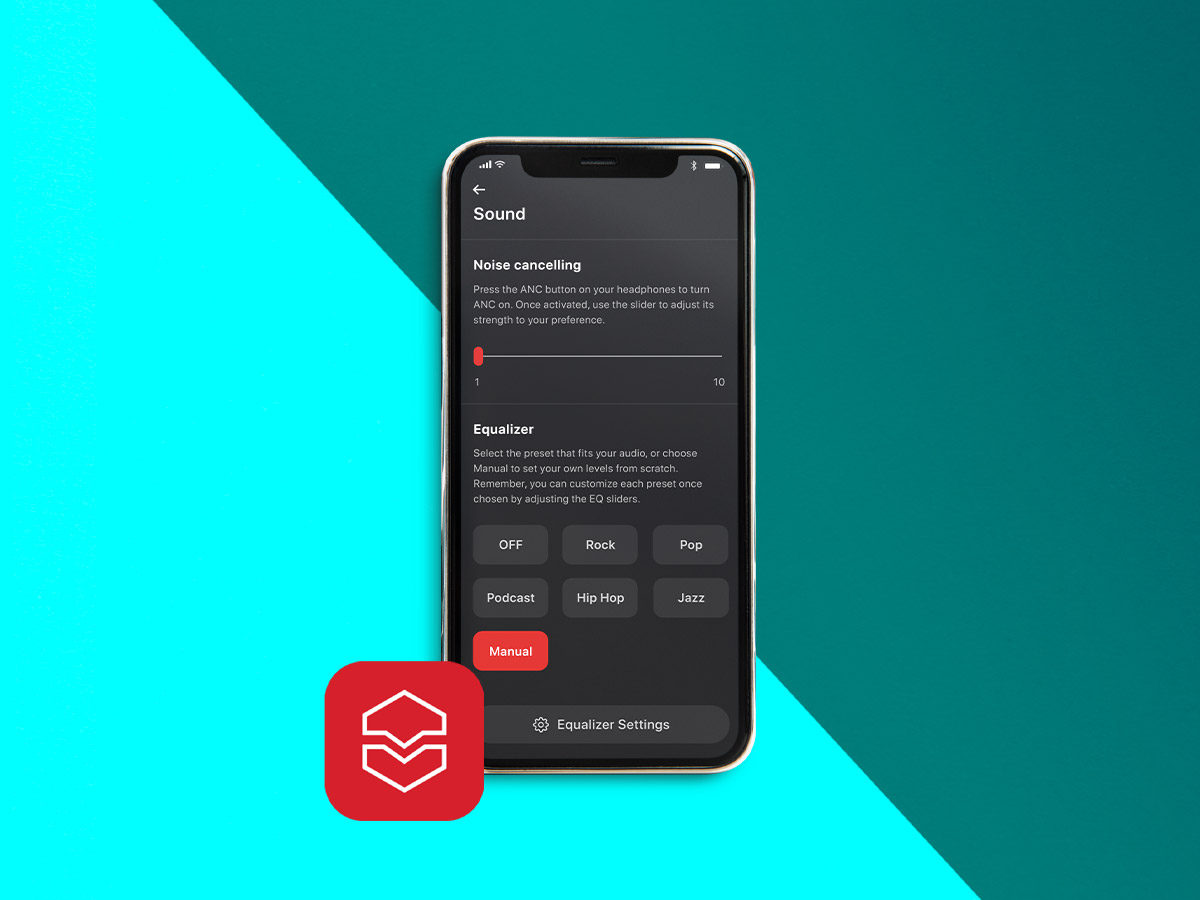 Smartphone showing the V-MODA App